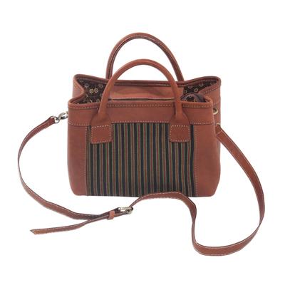 Novica Cotton accent leather handbag, Midnight Lines