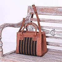 Featured review for Cotton accent leather handbag, Midnight Lines