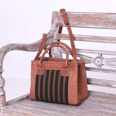 Cotton accent leather handbag, 'Midnight Lines' - Handcrafted Cotton Accent Leather Handbag from Java