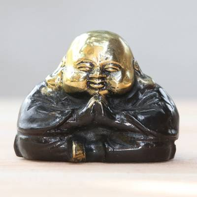 Bronze figurine, 'Fortune Blessings' - Gold Colored Bronze Praying Buddha Figurine from Bali