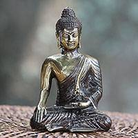Bronze figurine, 'Peaceful Shine' - Gold Colored Bronze Praying Buddha Figurine from Bali