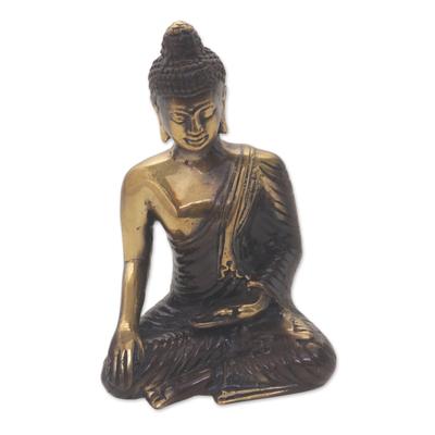 Gold Colored Bronze Praying Buddha Figurine from Bali