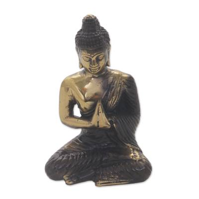 Handmade Gold Colored Bronze Praying Buddha Statue from Bali