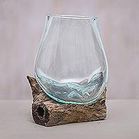 Blown glass and wood vase, 'Clear Horizon' - Blown Glass and Albesia Wood Vase Made in Bali
