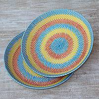 Bamboo and plastic baskets, 'Lombok Rainbow' (pair) - Two Handwoven Multicolored Baskets from Indonesia