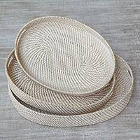 Ate grass and bamboo trays, 'Lombok Ovals' (set of 3) - Three Oval Ate Grass and Bamboo Trays from Indonesia