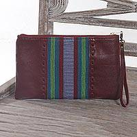 Leather and cotton wristlet, 'Casual Ikat in Brick' - Handmade Leather and Cotton Wristlet Handbag from Java
