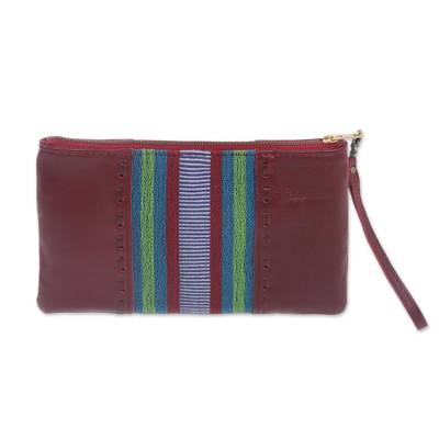 Handmade Leather and Cotton Wristlet Handbag from Java