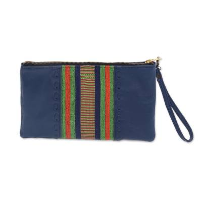 Handmade Blue Leather and Cotton Wristlet Handbag from Java