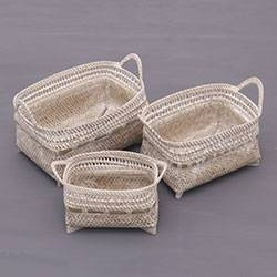 Ate grass and bamboo baskets, 'Senggigi Keepers' (set of 3) - Three Whitewashed Natural Fiber Baskets from Indonesia
