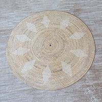 Ate grass and bamboo decorative mat, 'Lombok Diamonds' - Artisan Crafted Natural Fiber Decorative Mat from Indonesia