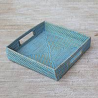 Ate grass and bamboo tray, 'Mataram Weave in Blue' - Ate Grass and Natural Fiber Tray in Blue from Indonesia