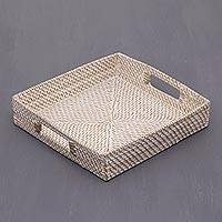Ate grass and bamboo tray, 'Mataram Weave' - Whitewashed Ate Grass and Bamboo Tray from Indonesia