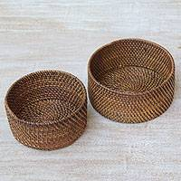 Ate grass and bamboo baskets, 'Lombok Holders' - Two Handwoven Natural Fiber Baskets from Indonesia