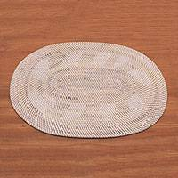 Ate grass and bamboo decorative table mat, 'Sunlight Weave' - Handwoven Oval Ate Grass and Bamboo Decorative Table Mat