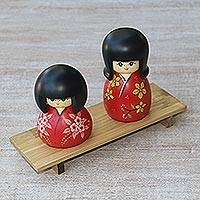 Mahogany wood figurines, 'Kimono Sisters in Red' (pair) - Handmade Mahogany Wood Figurine Pair Red Kimono Sisters