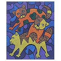 'Playing Kittens' - Signed Cubist Painting of Three Cats from Java