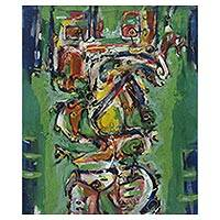 'Meditations' - Signed Abstract Painting in Green from Indonesia
