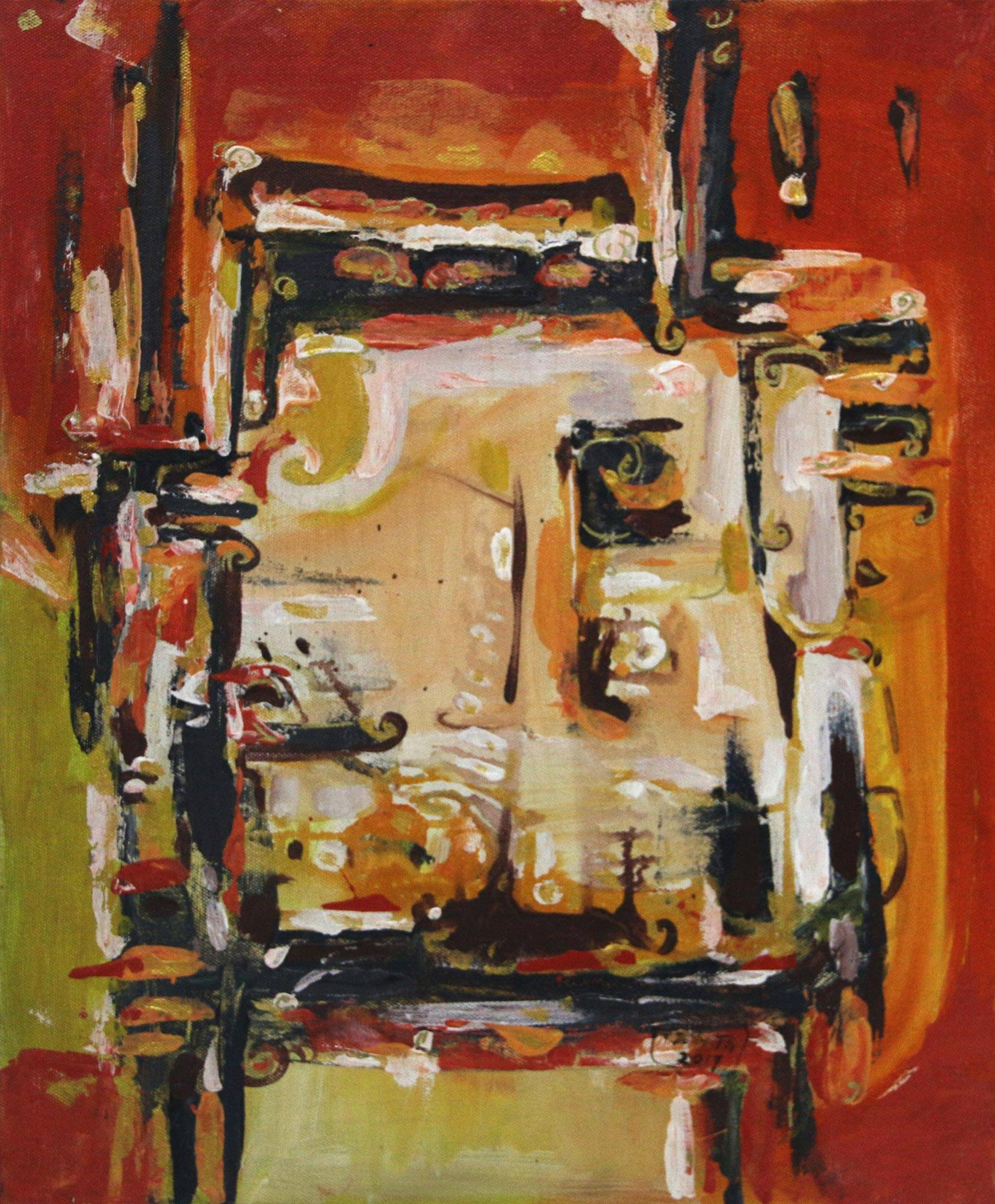 'Spirit' - Signed Abstract Painting in Orange from Indonesia