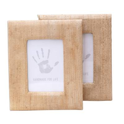 Small Natural Fiber Photo Frames in Beige (Pair
