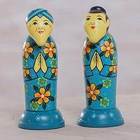 Mahogany toothpick holders, 'Elderly Friends in Blue' (pair) - Pair of Mahogany Toothpick Holders in Floral Blue from Bali