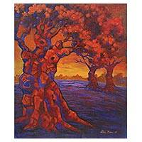 'Forest Corner' - Signed Impressionist Painting of Three Trees from Java