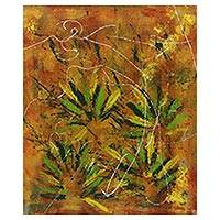 'Grass Wanderer' - Signed Grass-Themed Abstract Painting from Java