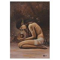 'Dewi Anjani' - Artistic Nude Realist Painting of a Woman from Java
