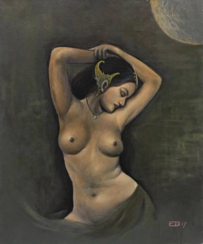 'Nawang Wulan' - Signed Painting of a Nude Legendary Woman from Java