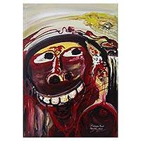 'Corruptor Mask' - Signed Abstract Portrait Painting from Bali