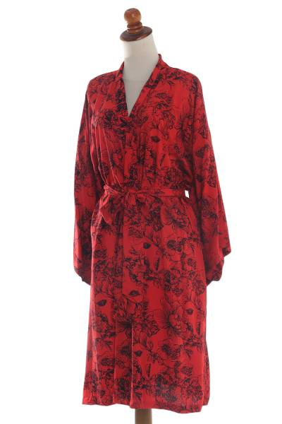 Red and Black Rayon Hand Crafted Floral Batik Short Robe