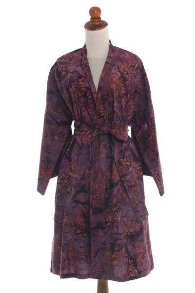 Purple and Brown Cotton Hand Crafted Batik Short Robe