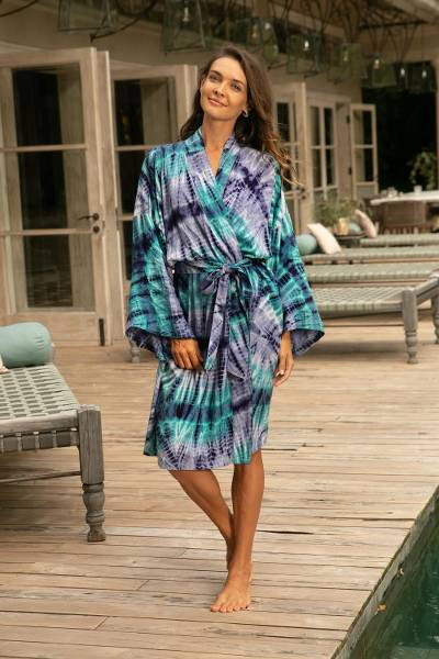 Rayon batik short robe, 'Sea Dawn' - Shades of Blue Rayon Hand Crafted Tie-Dye Batik Short Robe