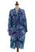 Rayon batik short robe, 'Sea Dawn' - Shades of Blue Rayon Hand Crafted Tie-Dye Batik Short Robe (image 2a) thumbail