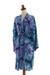 Rayon batik short robe, 'Sea Dawn' - Shades of Blue Rayon Hand Crafted Tie-Dye Batik Short Robe (image 2b) thumbail