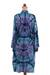 Rayon batik short robe, 'Sea Dawn' - Shades of Blue Rayon Hand Crafted Tie-Dye Batik Short Robe (image 2c) thumbail