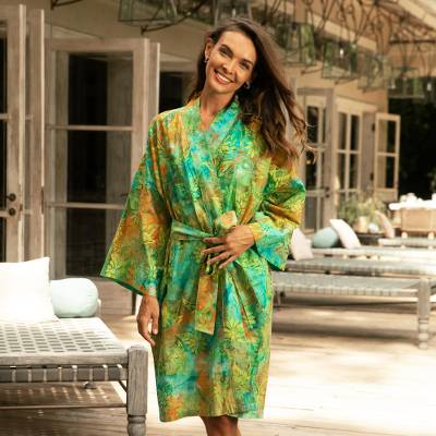 Rayon batik short robe, 'Forest Path' - Green and Blue Rayon Hand Crafted Floral Batik Short Robe