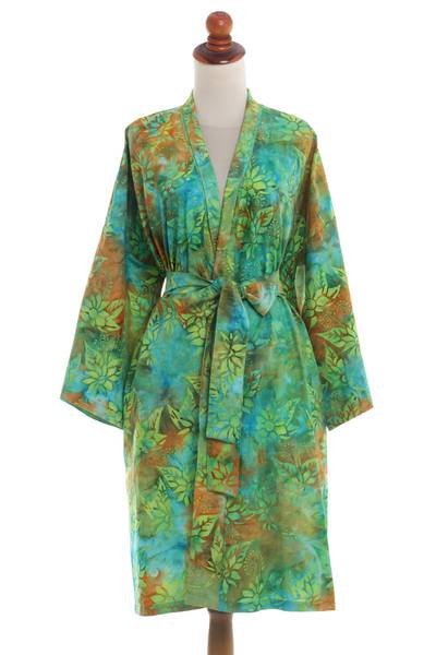 Green and Blue Cotton Hand Crafted Floral Batik Short Robe