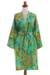 Rayon batik short robe, 'Forest Path' - Green and Blue Rayon Hand Crafted Floral Batik Short Robe (image 2a) thumbail