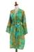 Rayon batik short robe, 'Forest Path' - Green and Blue Rayon Hand Crafted Floral Batik Short Robe (image 2b) thumbail