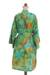 Rayon batik short robe, 'Forest Path' - Green and Blue Rayon Hand Crafted Floral Batik Short Robe (image 2c) thumbail