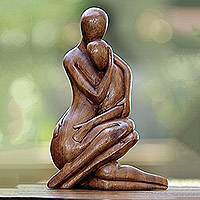 Wood sculpture, 'Mom's Love Never Ends' - Hand-Carved Romantic Suar Wood Sculpture from Bali