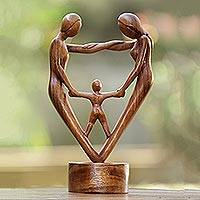 Wood sculpture, 'Our Blessing' - Hand-Carved Parents and Child Blessing Suar Wood Statuette