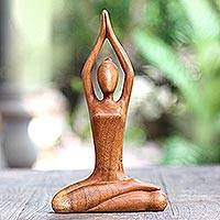 Wood sculpture, 'To the Sky' - Hand Carved Yoga Sitting Pose Suar Wood Sculpture