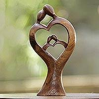 Wood statuette, 'Lovable' - Hand Carved Romantic Suar Wood Statuette from Bali