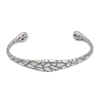 Sterling silver cuff bracelet, 'Stronger Together' - Patterned Sterling Silver Cuff Bracelet from Bali