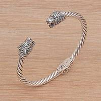Sterling silver cuff bracelet, 'Spirit of the Tiger'