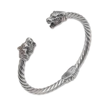 Sterling silver cuff bracelet, 'Spirit of the Tiger' - Tiger-Themed Sterling Silver Cuff Bracelet from Bali