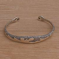 Sterling silver cuff bracelet, 'Flow of Thoughts' - Wave Motif Sterling Silver Cuff Bracelet from Bali