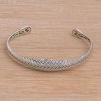 Sterling silver cuff bracelet, 'Woven Mystery' - Weave Motif Sterling Silver Cuff Bracelet from Bali